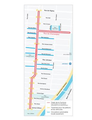 Cette année, la cyclovia du Sud-Ouest se déroulera sur un nouveau parcours, dans le secteur de la rue Laurendeau. (Groupe CNW/Ville de Montréal - Arrondissement du Sud-Ouest)