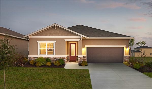 Exterior of Richmond American Homes' popular Onyx floor plan, showcased in Orlando, Florida.