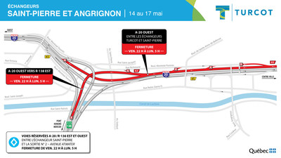 Fermetures dans les échangeurs Saint-Pierre et Angrignon (Groupe CNW/Ministère des Transports)