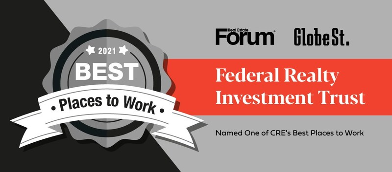 Federal Realty GlobeSt. Commercial Real Estate Best Places to Work 2021