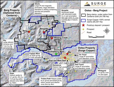 Figure 1. Claim map of the Ootsa-Huckleberry-Berg district highlighting known deposits and prospects. (CNW Group/Surge Copper Corp.)