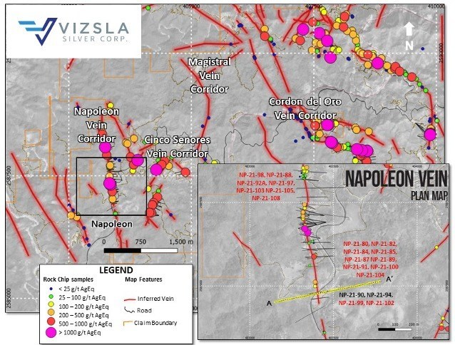 Figure 4: Plan map showing location of drill holes, mapped veins and surface sampling at the Napoleon Vein Corridor.  Labels shown in red for reported holes.  Inset shows detail of Napoleon's drill collar locations (CNW Group/Vizsla Silver Corp.)