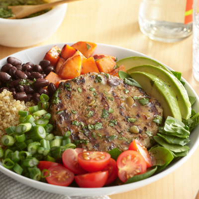 JENNIE-O® turkey burger blends are made of a carefully selected combination of white meat turkey, black beans, whole grain rice and pepitas to offer consumers the combined benefits of lean, meat-based and plant-forward protein (15g) and fiber (5g) in one tasty turkey burger.