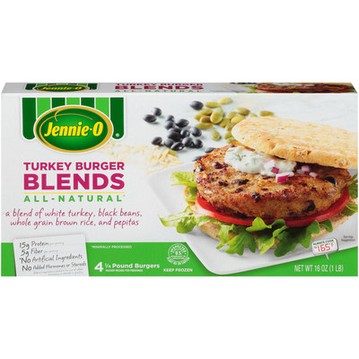The new JENNIE-O® turkey burger blends frozen turkey patties allow consumers a delicious and convenient way to add more plant foods to their diets.
