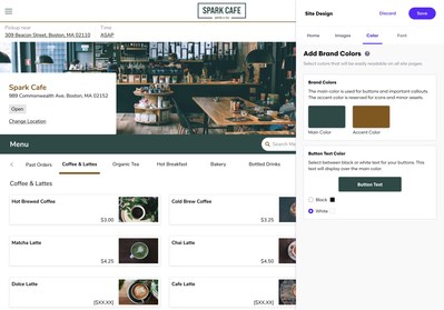 Fonts, colors and images are customizable to fit the restaurant's brand for a consistent look and feel
