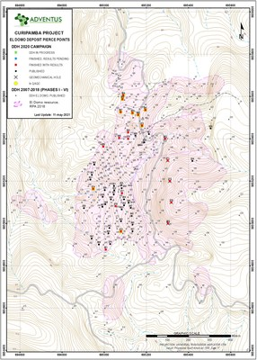 Figure 1: Drill Collar Location Map for Drill Holes at El Domo (CNW Group/Adventus Mining Corporation)