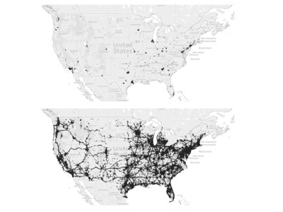 Development of 5G coverage between Spring 2020 (above) and February 2021 (below) in the US, all networks and all 5G variants including DSS. Source: umlaut crowd data