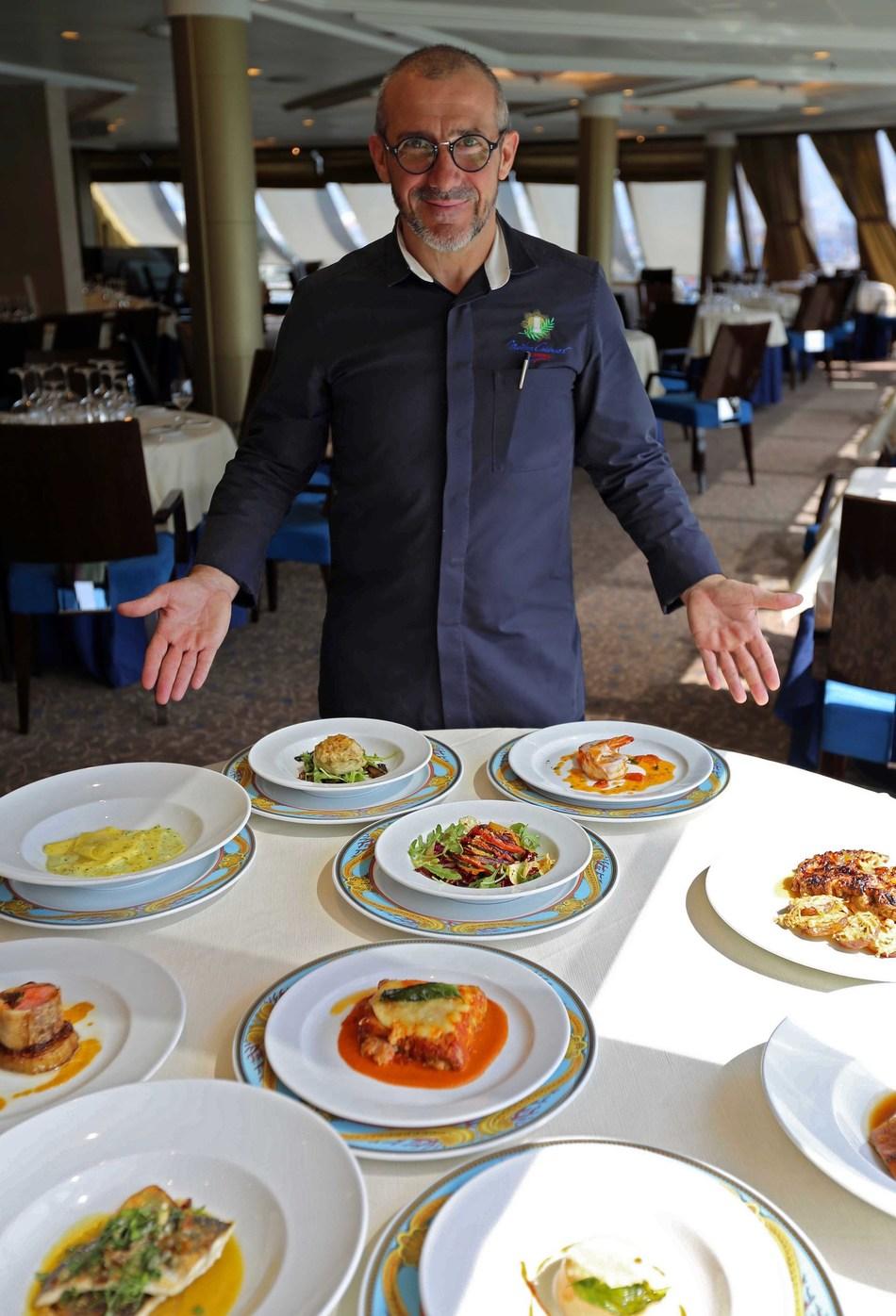 Chef Franck Garanger with Toscana Dishes
