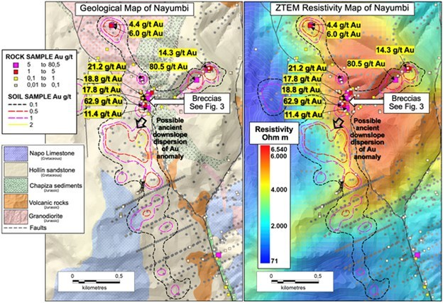 Figure 2. Project maps showing mapped geology, breccia occurrence, soil samples with anomaly contour as well as rock chip samples and ZTEM resistivity. (CNW Group/Luminex Resources Corp.)