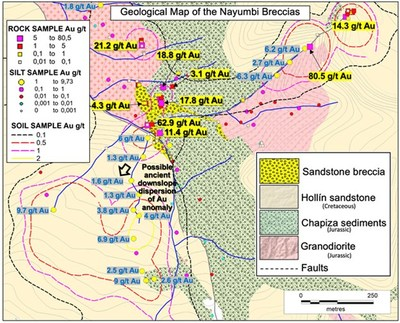 Figure 3. Geological map of drill target area with selected rock and silt sampling results. (CNW Group/Luminex Resources Corp.)