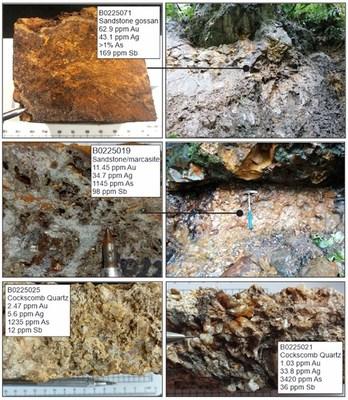 Figure 4. Photo panel of the sandstone breccias and epithermal quartz-sulphide veins. (CNW Group/Luminex Resources Corp.)