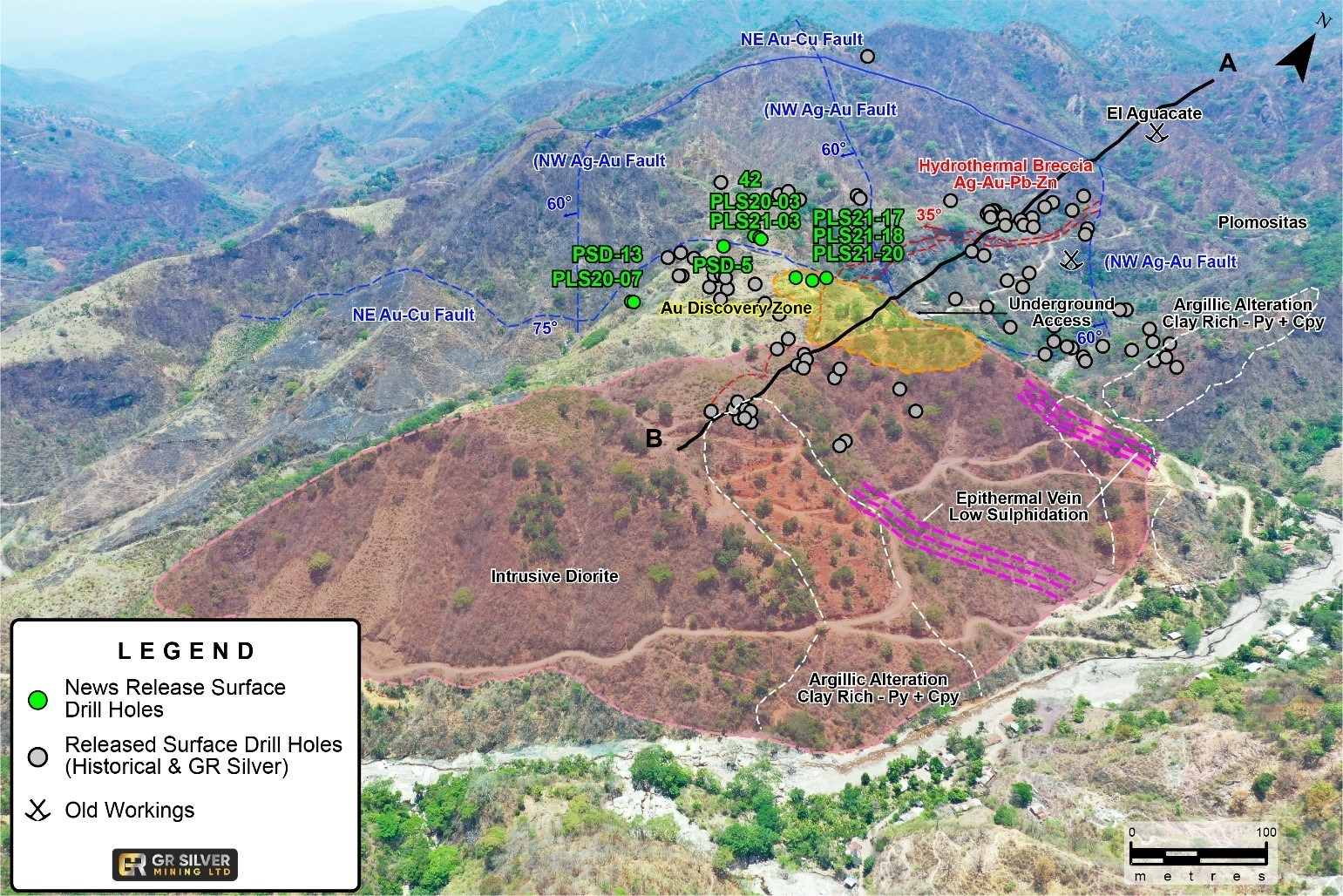Figure 1: Plomosas Mine Area: Large Epithermal System with New Discoveries (Drone image) (CNW Group/GR Silver Mining Ltd.)