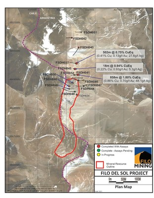 Filo Mining Plan Map Satellite Image (CNW Group/Filo Mining Corp.)