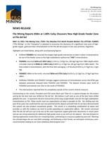 Filo Mining Reports 858m at 1.80% CuEq; Discovers New High-Grade Feeder Zone at Filo del Sol (CNW Group/Filo Mining Corp.)