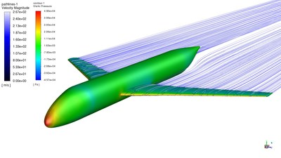 New online courses offered by Cornell University in collaboration with Ansys focus on topics that help learners understand how to use Ansys Fluent in real life examples, like this simulation of compressible flow of a model airplane.
