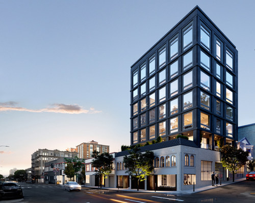 Sited near the intersection of Franklin and Pine Streets, Noir is a sleek tower rising behind a historic masonry façade.