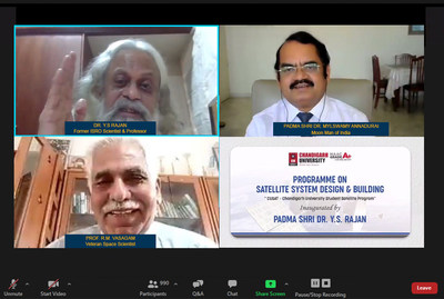 Former ISRO Scientist Dr. YS Rajan, Veteran Space Scientist Prof. R.M.Vasagam, and Dr. Mylswamy Annadurai, Program Director of Chandrayaan-1 & Mangalyaan also known as Moon Man of India launching North India's first Satellite Designing program for the students at Chandigarh University
