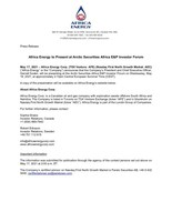 Africa Energy to Present at Arctic Securities Africa E&P Investor Forum (CNW Group/Africa Energy Corp.)