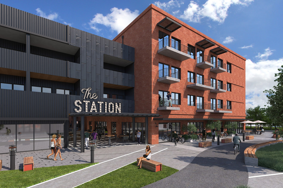 Front entrance rendering of The Station at St. Elmo development