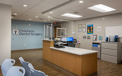 The reception and waiting room of Children's Dental Surgery of Philadelphia, located at 2301 E Allegheny Avenue.