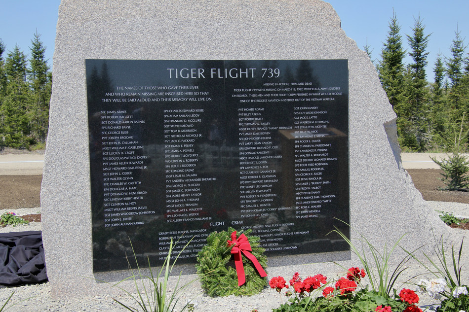 The new monument – made entirely of granite, standing 8ft tall, 9.5ft wide, 4ft deep at its base – displays the engraving of each of the 93 Army soldiers aboard, as well as the names of the 11 flight crew members, many of whom were veterans themselves.