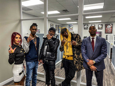 Keishia McLeod, CEO of Legacy Records, pictured with artists Jaymison Beverly, Suave Fello, and KandymanBK, along with Navarro W. Gray, ESQ.