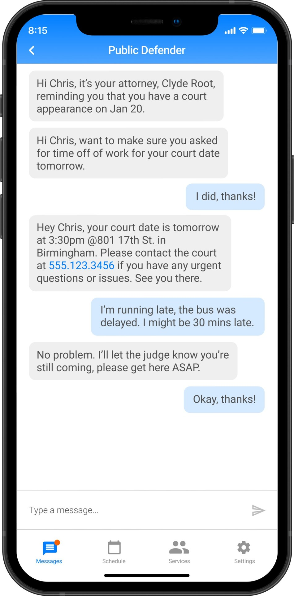 Uptrust is a cost-effective and user-first communications platform that provides justice-involved individuals with accessible tools to avoid violating their probation or supervision by staying up to date on their appointments and obligations.