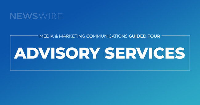 Logo for Newswire's Media & Marketing Guided Tour on a blue background.
