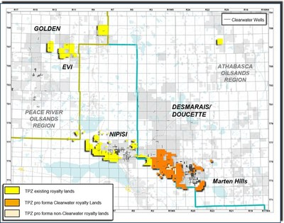 Figure 3: Topaz Existing and Pro Forma Clearwater Royalty Lands (CNW Group/Topaz Energy Corp)