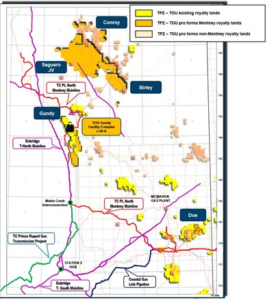 Figure 2: Topaz Existing and Pro Forma NEBC Royalty Lands (CNW Group/Topaz Energy Corp)