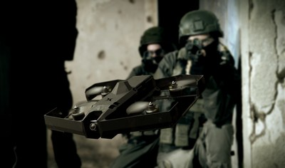 The SKYLORD XTENDER in action: providing a unique, human-centric 'machine interface technology' that enables operators to remotely intervene in dangerous situations, from a safe distance, via drone by virtually 'sitting inside' the small sUAS.