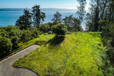 The property includes plans and permits for a luxurious yet carbon-neutral estate that offers a 15,000-sf main resident, a 2,200-sf guesthouse and 700-sf caretaker's residence. The clearing for the main residence site is shown here. Learn more at TiburonLuxuryAuction.com.