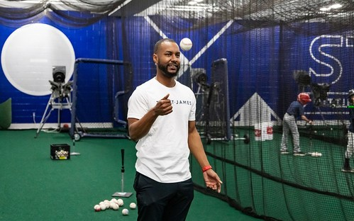 New Director of Baseball LJ Hoes leads a clinic in The St. James Hitting House