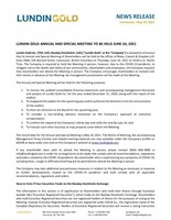 Lundin Gold Annual and Special Meeting to Be Held June 24, 2021 (CNW Group/Lundin Gold Inc.)
