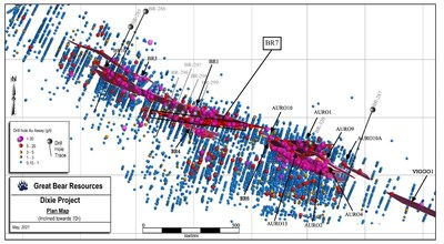 Figure 3: Plan map of the various high-grade gold domains currently being drilled along the central LP Fault. Bulk tonnage style gold mineralization is also shown. The locations of drill holes reported in this release are shown. (CNW Group/Great Bear Resources Ltd.)