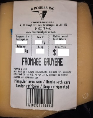 Fromage Gruyère (Groupe CNW/Ministère de l'Agriculture, des Pêcheries et de l'Alimentation)