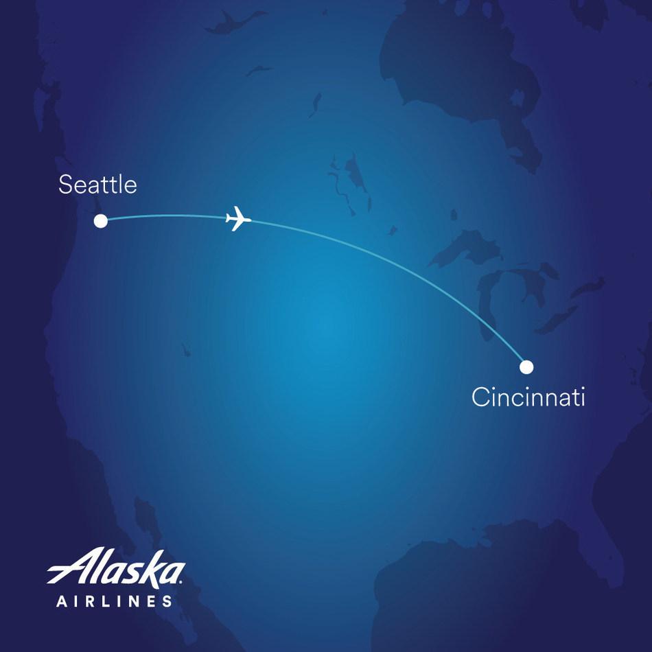 Alaska now flies nonstop between Seattle and Cincinnati.