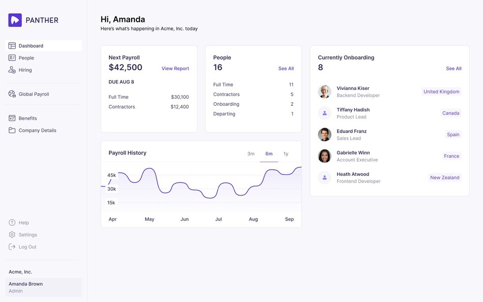 Panther's Account Dashboard allows users to intuitively oversee every aspect of hiring, onboarding and managing a global team of skilled employees.