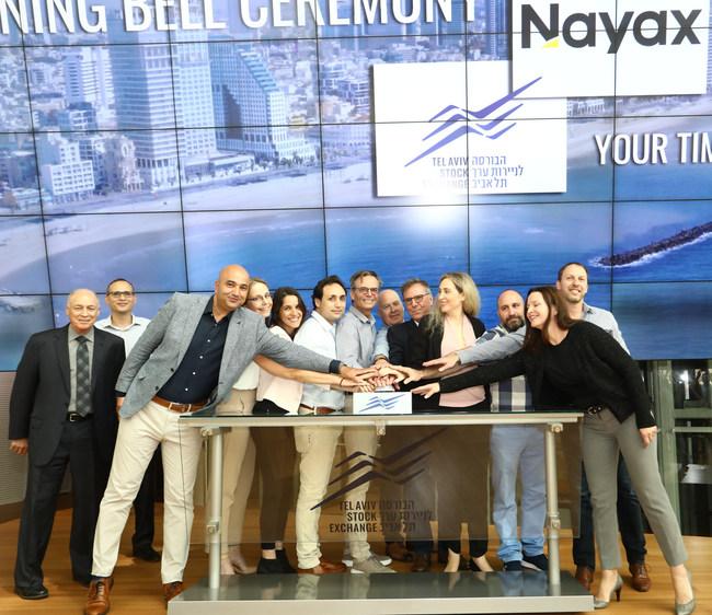 From right to left: Ella Shechtman, VP HR Nayax; Moshe Orenstein, VP product Nayax; Saffi Keisari, Development Manager Nayax; Keren Sharir, VP Marketing Nayax; Amir Nechmad, Co- Founder Nayax; Yair Nechmad, CEO, Chairman & Co- Founder Nayax; David Ben-Avi, Chief Technology Officer Nayax; Liron Grosman, CEO Nayax; Tami Erel, Chief Business Operations Nayax; Michael Galai, Chief Legal Officer Nayax; Ittai Ben-Zeev, CEO TASE and Amnon Neubach, Chairman TASE.(credit: Sivan Farag) (PRNewsfoto/The Tel Aviv Stock Exchange Ltd.)