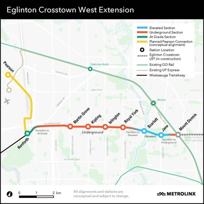 Map of the Eglinton Crosstown West Extension. (CNW Group/Aecon Group Inc.)