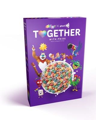 Starting mid-May and for the first time in conjunction with Pride month, Kellogg's Together With Pride cereal will be available at select major retailers nationwide. The delicious new recipe features berry-flavored, rainbow hearts dusted with edible glitter.