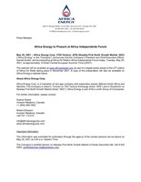 Africa Energy to Present at Africa Independents Forum (CNW Group/Africa Energy Corp.)
