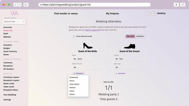 Interface de la liste des invités de mariage