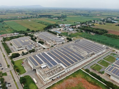 Solar panels installed by TotalEnergies on the rooftop of one of Betagro's facilities