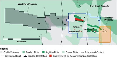 Figure 1. Bedrock geology map showing Iron Creek project, recently acquired West Fork property, and newly acquired Redcastle property (CNW Group/First Cobalt Corp.)