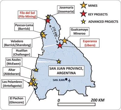 Figure 1: Distribution of major exploration and mining projects in San Juan Province, Argentina (CNW Group/Libero Copper & Gold Corporation.)