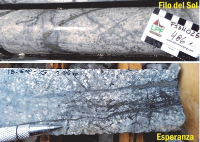 Figure 2: White bleaching (sericite) and D vein (pyrite with white haloes) stockwork development, potential evidence of a strongly telescoped system where a deep porphyry drives a sericite overprint onto a shallower zone. (CNW Group/Libero Copper & Gold Corporation.)