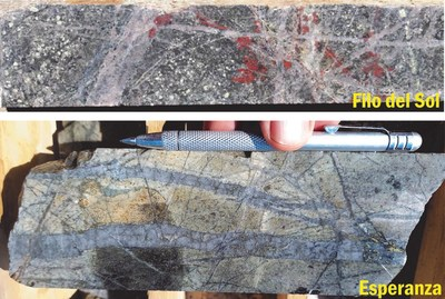 Figure 3: Dense quartz-vein stockwork zones coupled with brown biotite alteration. Alteration styles in porphyry deposits that are often associated with robust Cu-Au mineralization. (CNW Group/Libero Copper & Gold Corporation.)