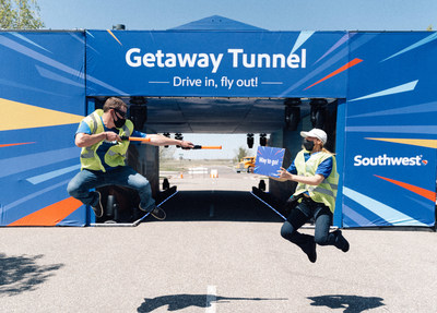 Southwest Airlines Employees Volunteering in front of Southwest Getaway Tunnel