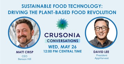 """Upcoming Crusonia Conversations, """"Sustainable Food Technology: Driving the Plant-Based Food Revolution,"""" on May 26, 2021, Noon CT."""